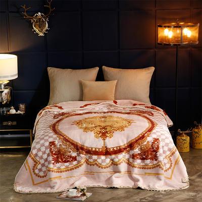 2018新款-花边加密单层云毯.婚庆毯 .礼品毯 .保暖毯 200cmx230cm 迷影-米白
