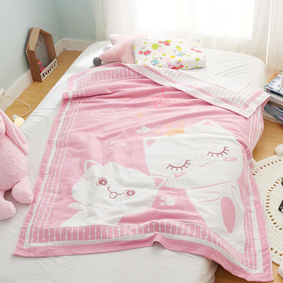 全棉大版提花儿童纱布毯 .空调毯.毛巾毯.毛巾被 120*150cm 可爱小猫-粉