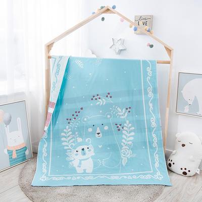 全棉大版提花儿童纱布毯 .空调毯.毛巾毯.毛巾被 120*150cm 小熊一家-天蓝