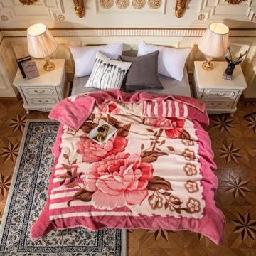 2019新款单层全羊毛毯.纯羊毛毯.婚庆毯.毛毯.大红.结婚.保暖毯