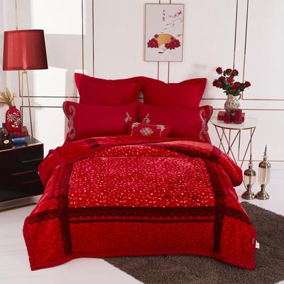 19.精品翡翠毯,婚庆毯,保暖毯,大红.结婚毛毯,云毯 200cmx230cm 爱之花语