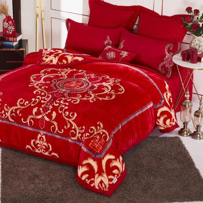19.精品翡翠毯,婚庆毯,保暖毯,大红.结婚毛毯,云毯 200cmx230cm 双喜临门