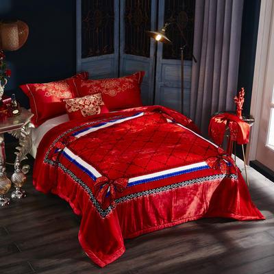 新款泽西兔毯.毛毯.保暖毯大红.结婚.婚庆毯 190*225(双层) 花结