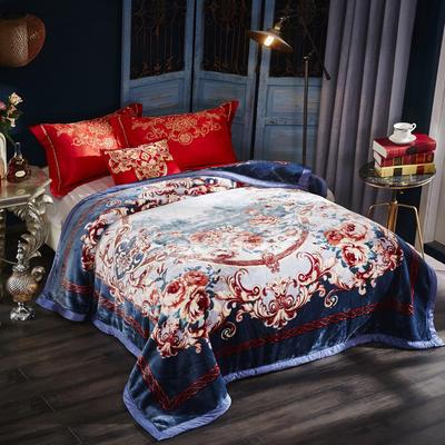 新款泽西兔毯.毛毯.保暖毯大红.结婚.婚庆毯 190*225(双层) 蓝芯