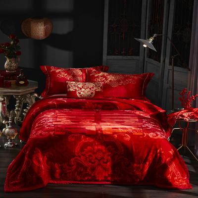 新款泽西兔毯.毛毯.保暖毯大红.结婚.婚庆毯 190*225(双层) 我家有喜