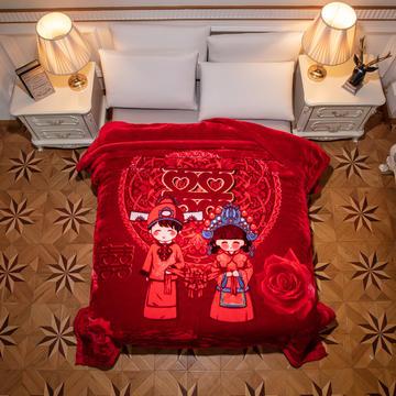 新款红妆婚庆加厚云毯婚庆毯.毛毯.大红.结婚毯.保暖毯