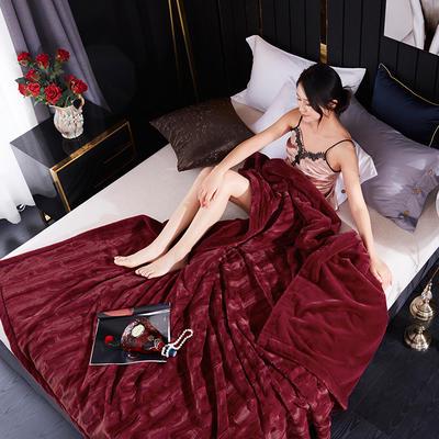 新款精品仿毛皮盖毯.婚庆毯.毛毯.保暖毯大红.结婚毯 200cmx230cm 酒红色