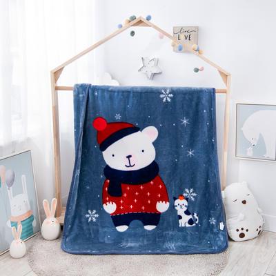精品儿童云毯  学生毛毯.毛毯.保暖毯 110x140cm 幸福宝贝(蓝灰)