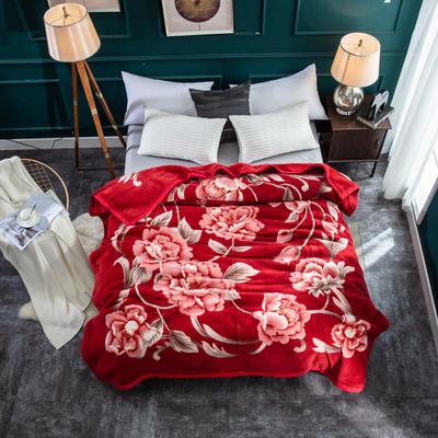 新款雙層 全羊毛毯.純羊毛毯.婚慶毯.毛毯.保暖毯大紅.結婚 200cmx230cm(雙層) 奏響愛情