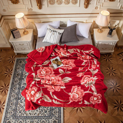 2019新款单层纯羊毛毯.婚庆毯.毛毯.大红.结婚.保暖毯 200cmx230cm 相伴一生