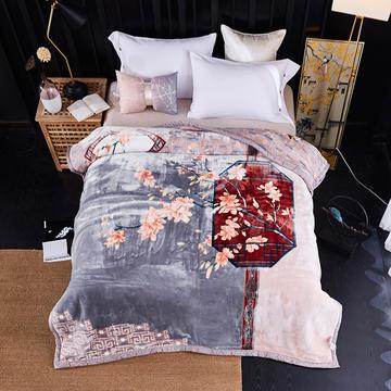 新款中式大版印花长毛.云毯.毛毯.婚庆毯