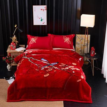 新款中式大版印花长毛.云毯.毛毯.婚庆毯.大红.结婚毯