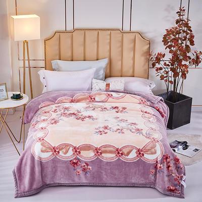 新款中式大版印花长毛.云毯.毛毯.婚庆毯.大红.结婚毯 200cmx230cm 紫花韵