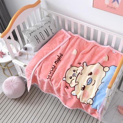 2019新款儿童云毯.毛毯.保暖毯. 100cm*130cm 卡通猪-浅粉