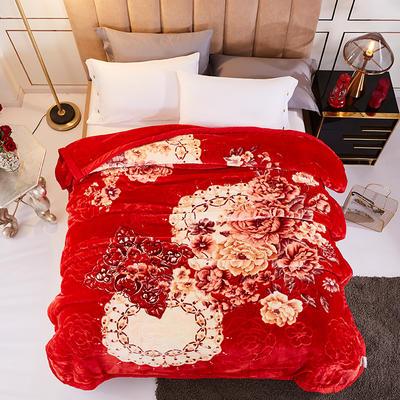 新款5D壓花精品天絲云毯.精品毯,高檔毛毯,婚慶毯,大紅結婚保暖毯 200cmx230cm(3.3公斤) 愛戀花語