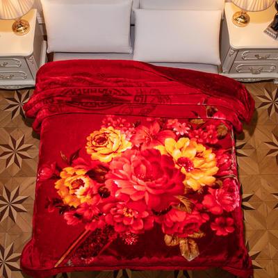 新款紅妝婚慶加厚云毯婚慶毯.毛毯.大紅.結婚毯.保暖毯 200cmx230cm(雙層) 富貴花開