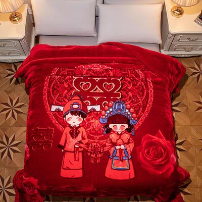 新款红妆婚庆加厚云毯婚庆毯.毛毯.大红.结婚毯.保暖毯 200cmx230cm(双层) 美好良缘