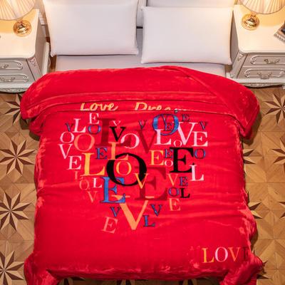 新款红妆婚庆加厚云毯婚庆毯.毛毯.大红.结婚毯.保暖毯 200cmx230cm(双层) 一见钟情