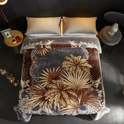 安哥拉精品毯,婚庆毯,云毯,保暖毯, 200cmx230cm 叶子-灰