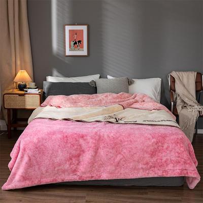 2020新款仿皮草拼色系列毛毯 200cmx230cm 树影 -粉