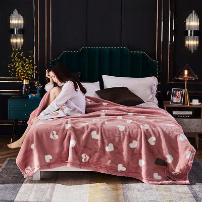 2020新款仿皮草时尚印花毛毯.婚庆毯.毛毯.保暖毯 200cmx230cm 爱心