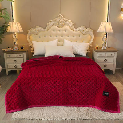 2020新款.爆款.仿皮草乳胶多功能盖毯.毛毯.保暖毯.床盖 180*200cm 大红