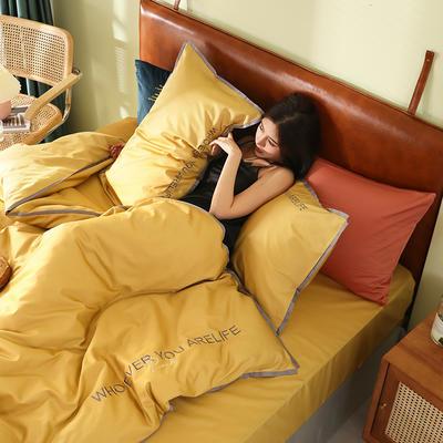 2020新品60*60后现代风刺绣60支全棉四件套逸系列 1.2m(4英尺)床 逸-黄色
