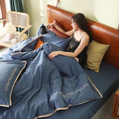 2020新品60*60后现代风刺绣60支全棉四件套逸系列 1.2m(4英尺)床 逸-景泰蓝