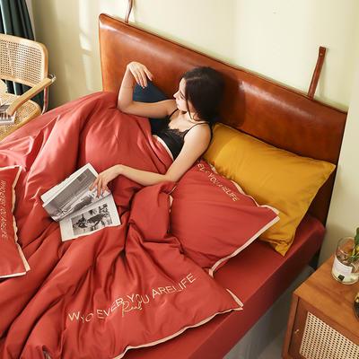 2020新品60*60后现代风刺绣60支全棉四件套逸系列 1.2m(4英尺)床 逸-印第安红