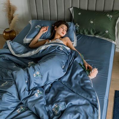 2020新品60支天丝北欧风晴系列 1.5m(5英尺)床 晴-神话蓝