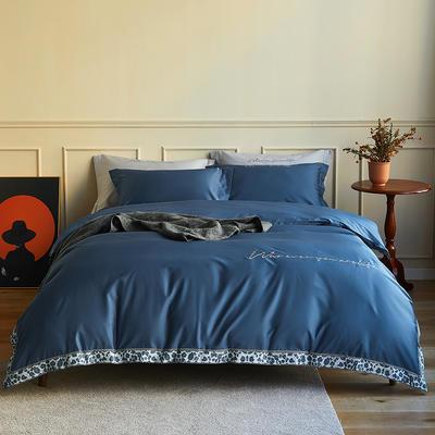 数码印花拼边60支全棉四件套倾系列 1.5m(5英尺)床 倾-景泰蓝