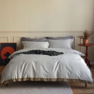 数码印花拼边60支全棉四件套倾系列 1.5m(5英尺)床 倾-浅灰