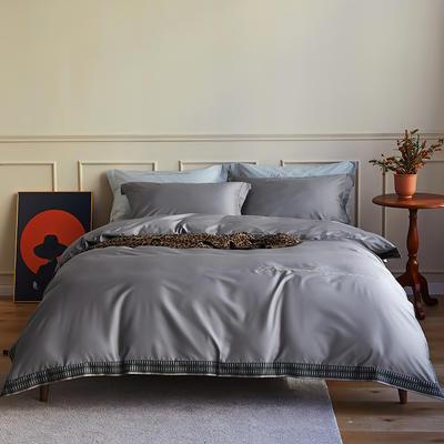 数码印花拼边60支全棉四件套倾系列 1.5m(5英尺)床 倾-深灰