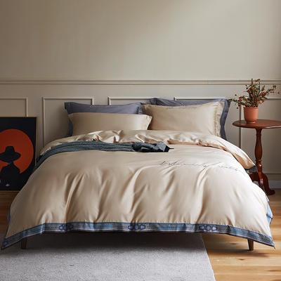 数码印花拼边60支全棉四件套倾系列 1.5m(5英尺)床 倾-新香槟色