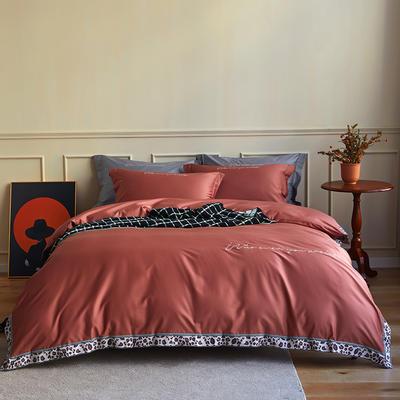 数码印花拼边60支全棉四件套倾系列 1.5m(5英尺)床 倾-印第安红