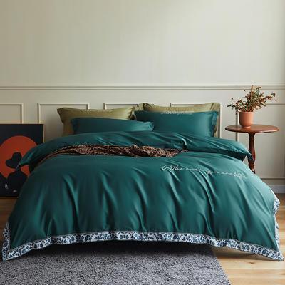 数码印花拼边60支全棉四件套倾系列 1.5m(5英尺)床 倾-英伦绿