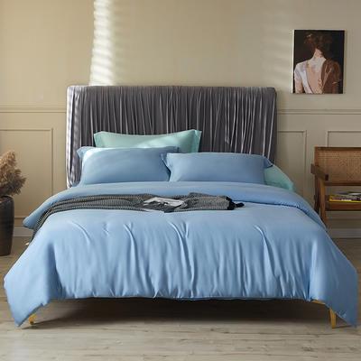 100支莱赛尔正品天丝纯色四件套 1.5m(5英尺)床 青花蓝