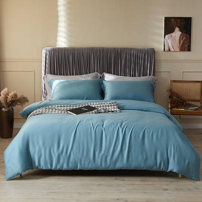 100支莱赛尔正品天丝纯色四件套 1.5m(5英尺)床 托纳斯蓝