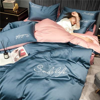 2020新款40全棉双拼款四件套 1.2m床单款三件套 双拼-宾利蓝