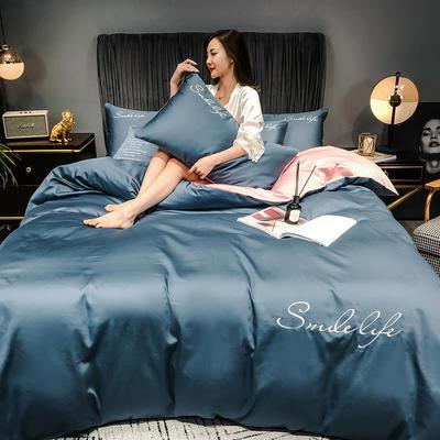 2020新款洛卡棉双拼刺绣S款四件套 1.5m床单款四件套 S双拼-宾利蓝