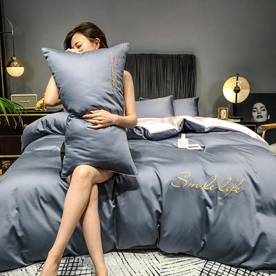 2020新款洛卡棉双拼刺绣S款四件套 1.8m床单款四件套 S双拼-紫灰