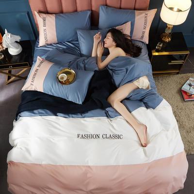 2020新款洛卡棉刺绣四件套-三拼系列 1.5m床单款四件套 三拼-宾利蓝+藕粉