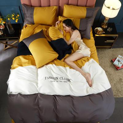 2020新款洛卡棉刺绣四件套-三拼系列 1.8m床单款四件套 三拼-姜黄+高级灰