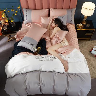 2020新款洛卡棉刺绣四件套-三拼系列 1.8m床单款四件套 三拼-藕粉+浅灰