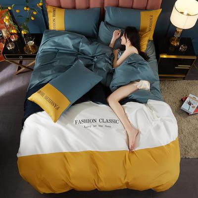 2020新款洛卡棉刺绣四件套-三拼系列 1.8m床单款四件套 三拼-浅石兰+姜黄