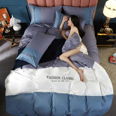 2020新款洛卡棉刺绣四件套-三拼系列 1.8m床单款四件套 三拼-紫灰+宾利蓝