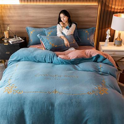 2020新款牛奶绒刺绣系列四件套-锐绒 1.2m床单款三件套 锐绒-宾利蓝+紫豆沙