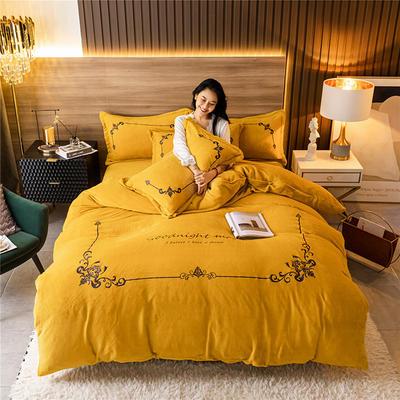 2020新款牛奶绒刺绣系列四件套-锐绒 1.2m床单款三件套 锐绒-姜黄