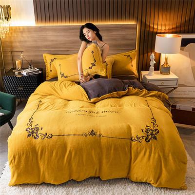 2020新款牛奶绒刺绣系列四件套-锐绒 1.2m床单款三件套 锐绒-姜黄+高级灰