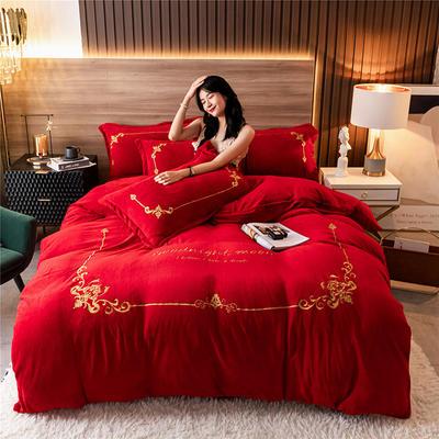 2020新款牛奶绒刺绣系列四件套-锐绒 1.2m床单款三件套 锐绒-中国红